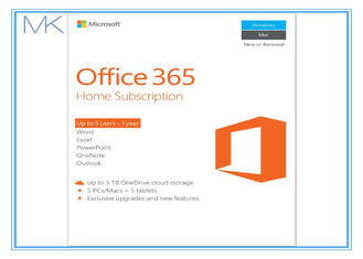 चीन Microsoft Office 365 Home 1 year subscription 5 users, PC / Mac Key Card आपूर्तिकर्ता